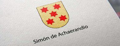 Escudo de Simón de Achaerandio referencia del apellido Echarandio