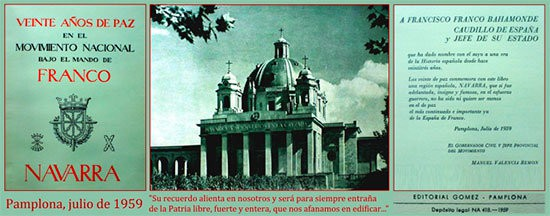"""Impreso sobre el Monumento a los Caídos cuyo nombre oficial es """"Navarra a sus Muertos en la Cruzada"""""""
