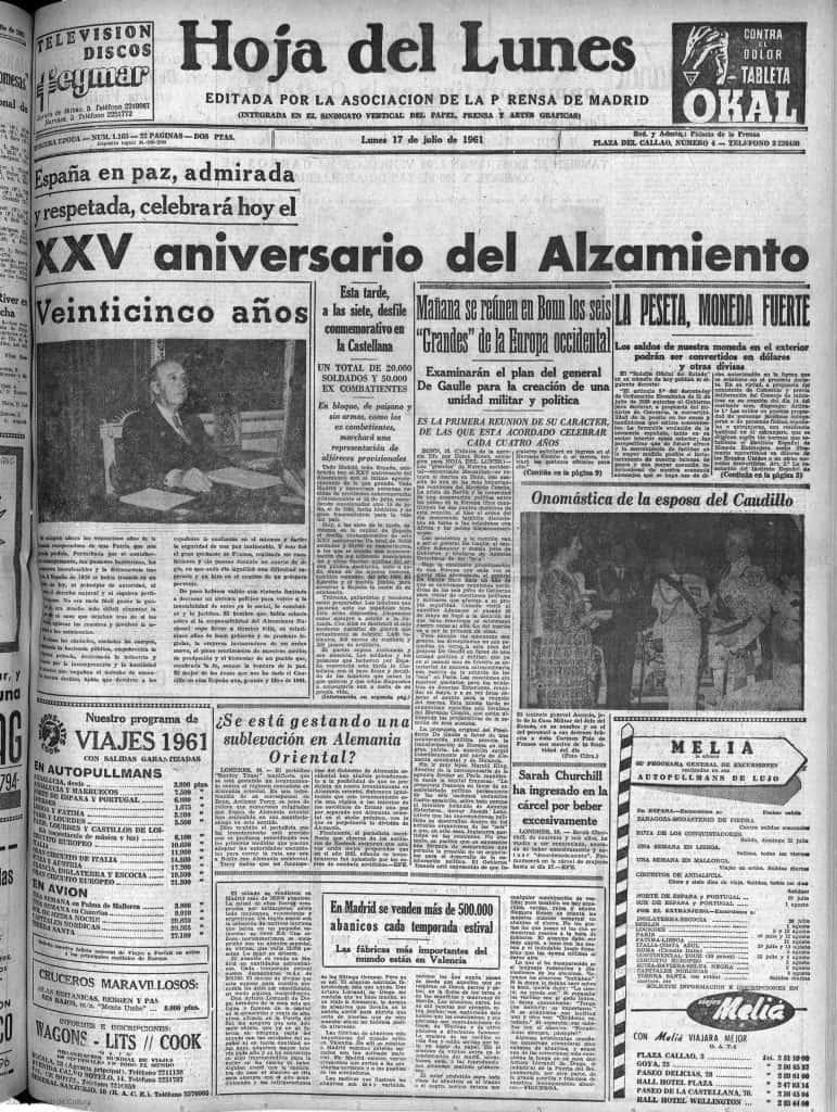 DIario la HOAJ DEL LUNES con la celebración del XXV aniversario del Alzamiento